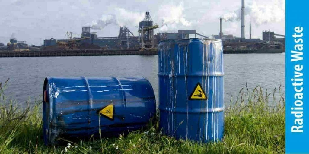 What are the causes of water pollution Radioactive waste